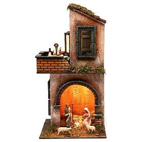 Presépio Napolitano: Casa dois níveis com figuras iluminada para presépio napolitano