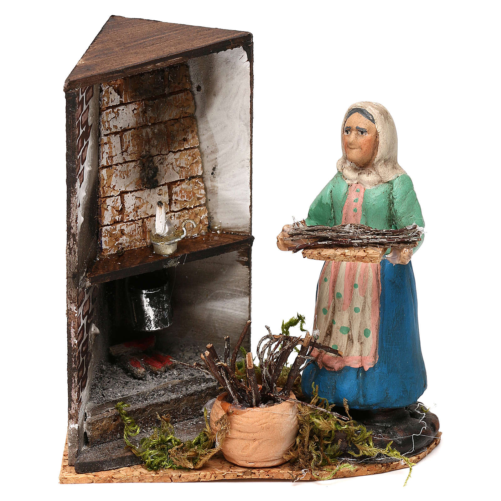 Woman by the fireplace for Neapolitan Nativity scene 8 cm 4