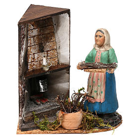 Woman by the fireplace for Neapolitan Nativity scene 8 cm s1