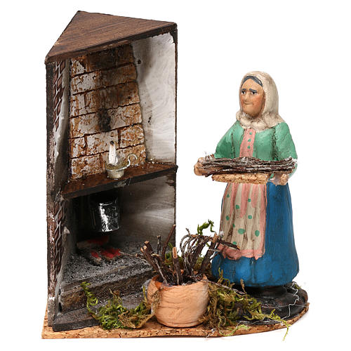 Woman by the fireplace for Neapolitan Nativity scene 8 cm 1