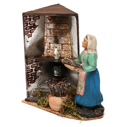 Woman by the fireplace for Neapolitan Nativity scene 8 cm 2