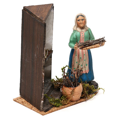 Woman by the fireplace for Neapolitan Nativity scene 8 cm 3