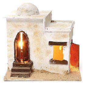 Presépio Napolitano: Casa árabe porta com escada iluminada 20x25x20 cm