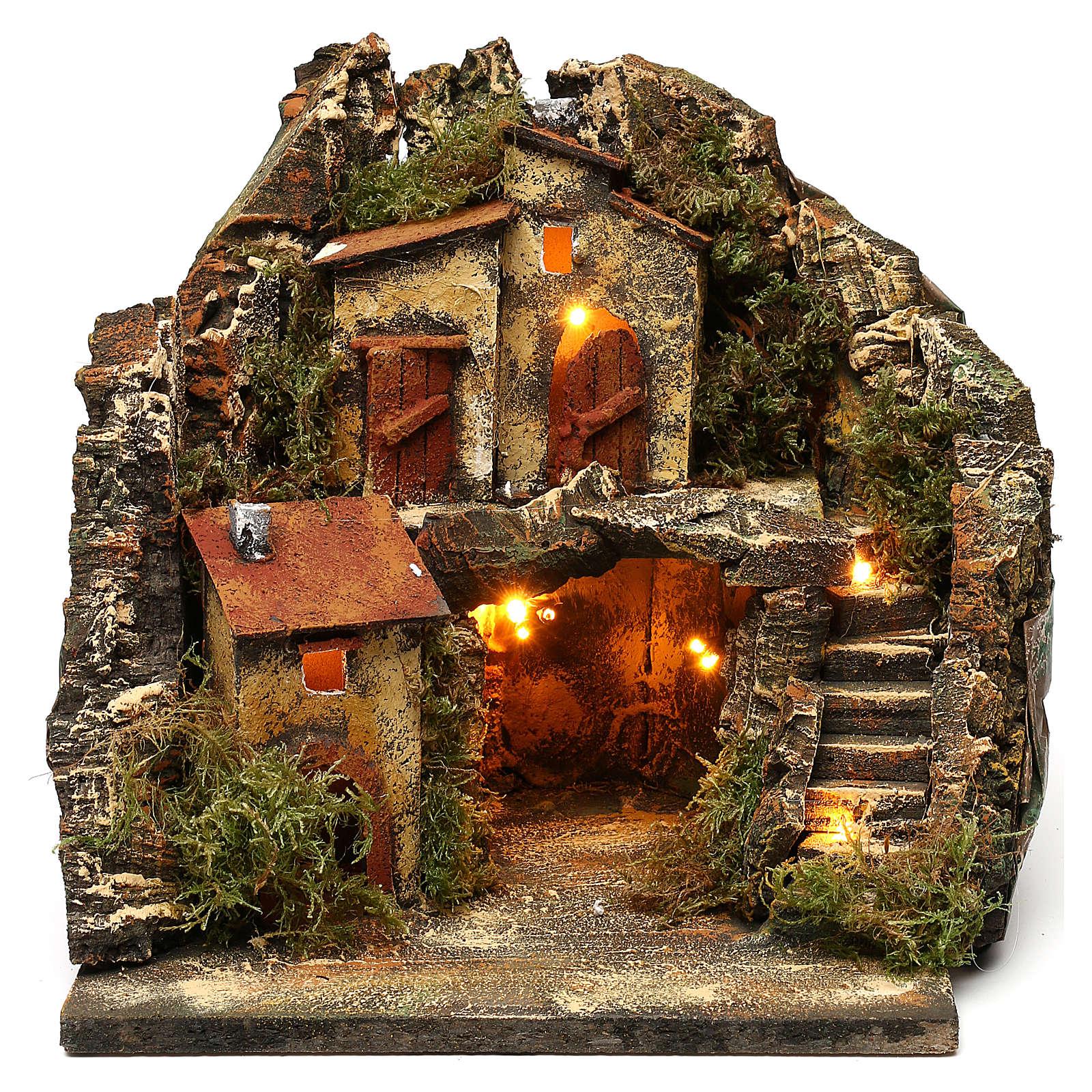 Borgo con grotta scalinata semicircolare 25x25x25 presepe napoletano stile 700 4