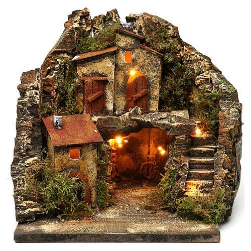 Borgo con grotta scalinata semicircolare 25x25x25 presepe napoletano stile 700 1