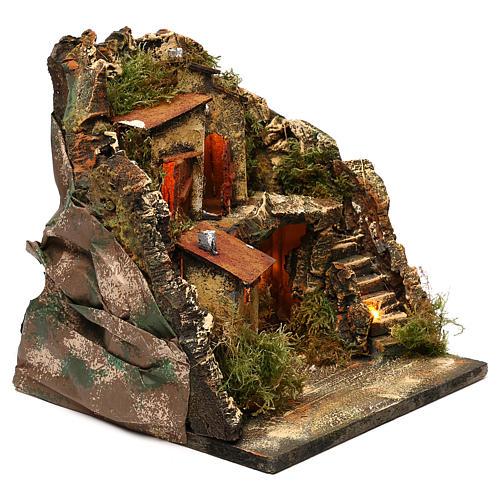 Borgo con grotta scalinata semicircolare 25x25x25 presepe napoletano stile 700 3