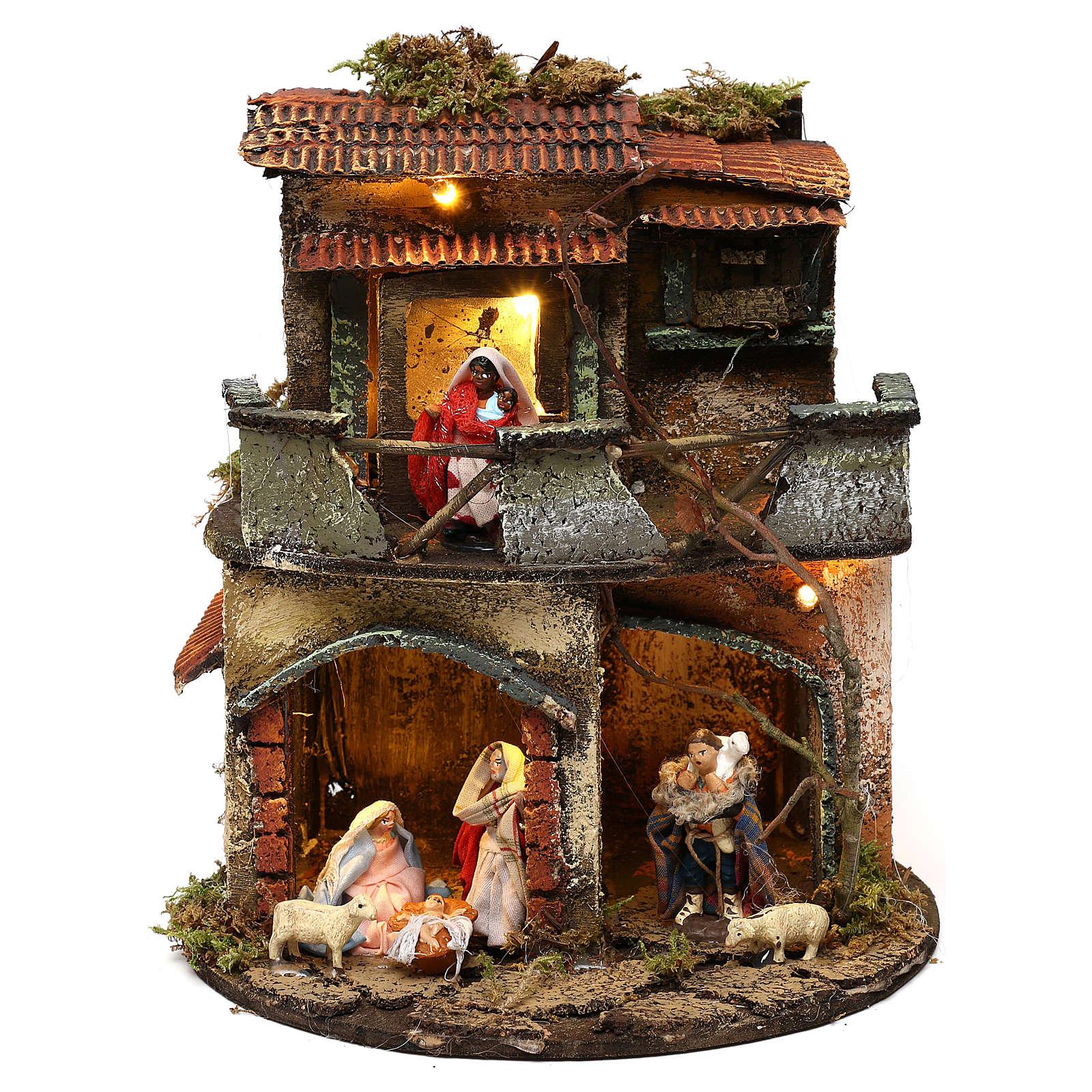 Borgo tondo completo e illuminato presepe napoletano 20x20 4