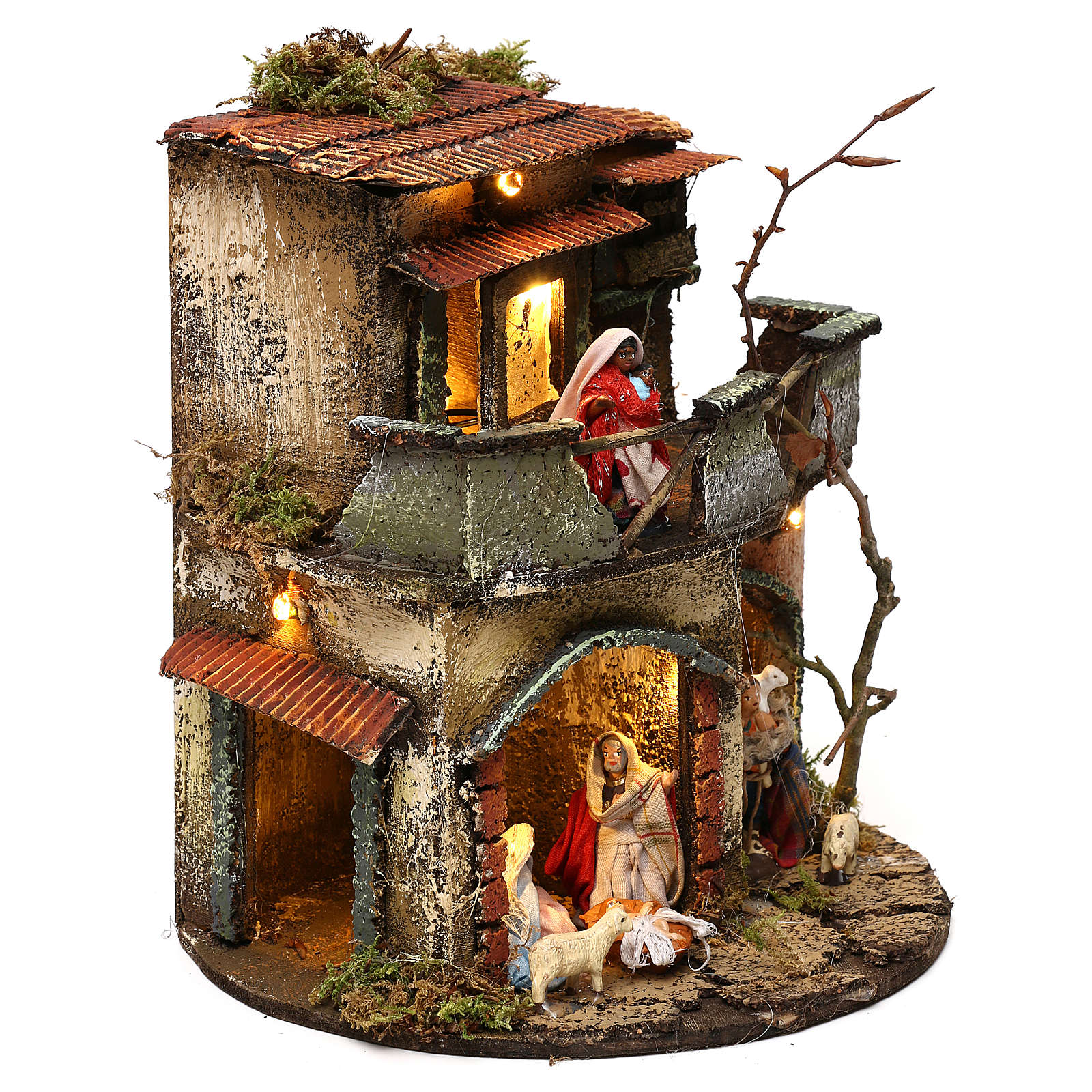 Complete round lighted village 20x20 cm, Neapolitan nativity 4