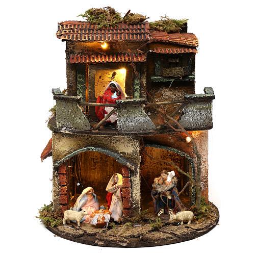 Complete round lighted village 20x20 cm, Neapolitan nativity 1