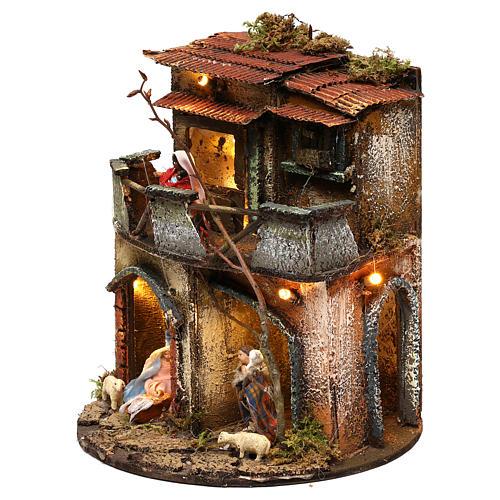 Complete round lighted village 20x20 cm, Neapolitan nativity 2