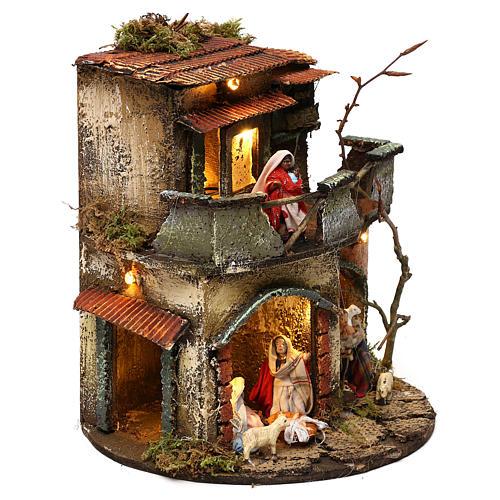 Complete round lighted village 20x20 cm, Neapolitan nativity 3