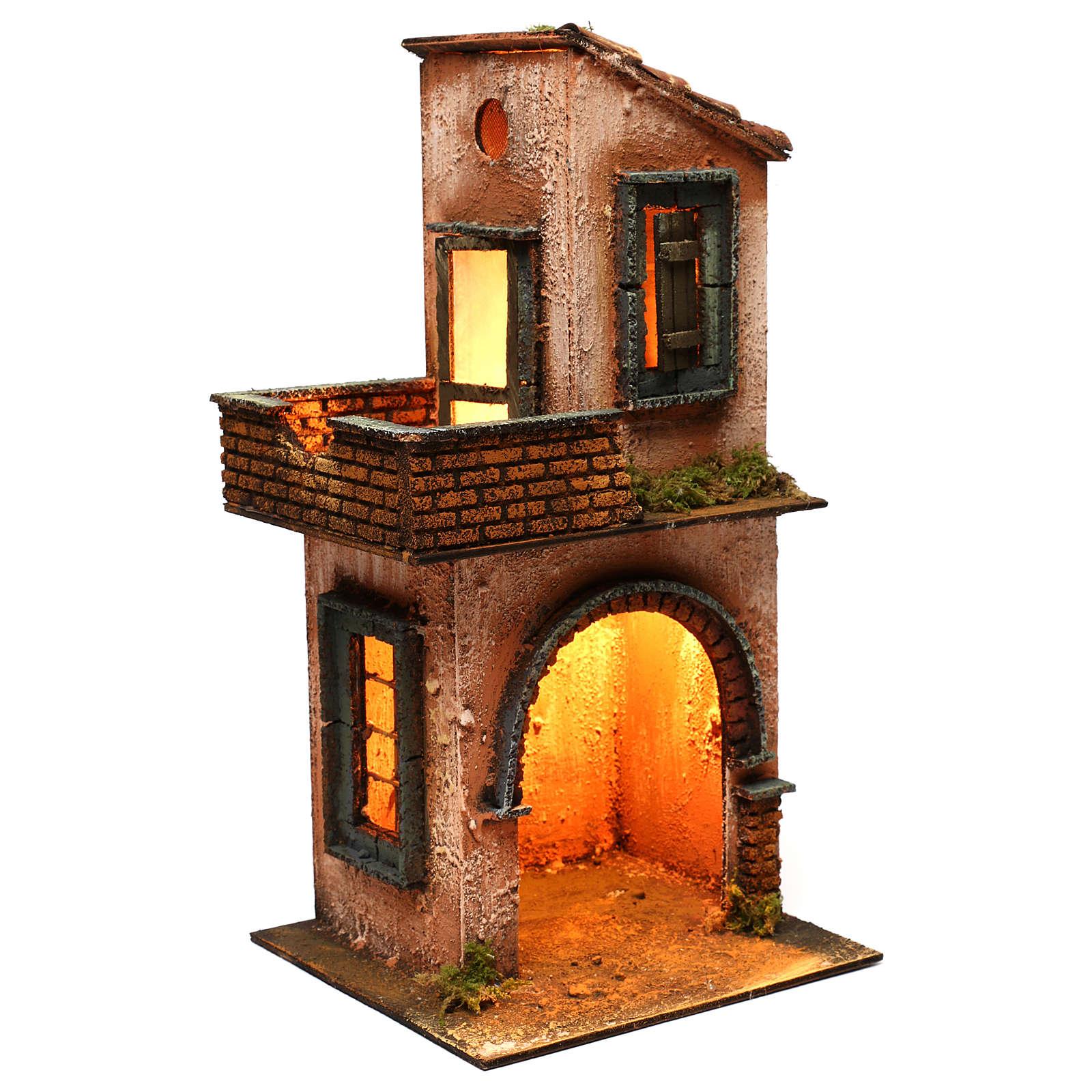 Casa in legno illuminata presepe napoletano stile 700 40x 20x20 cm 4