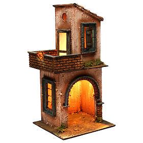 Casa in legno illuminata presepe napoletano stile 700 40x 20x20 cm s2