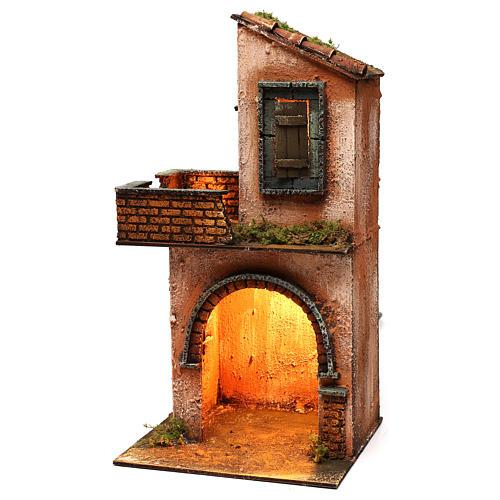 Casa in legno illuminata presepe napoletano stile 700 40x 20x20 cm 3