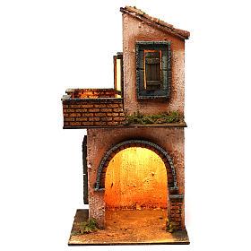 Presépio Napolitano: Casa em madeira iluminada presépio napolitano estilo 700 40x20x20 cm