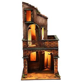 Presépio Napolitano: Casa iluminada com balcão dois andares 40x20x20 cm