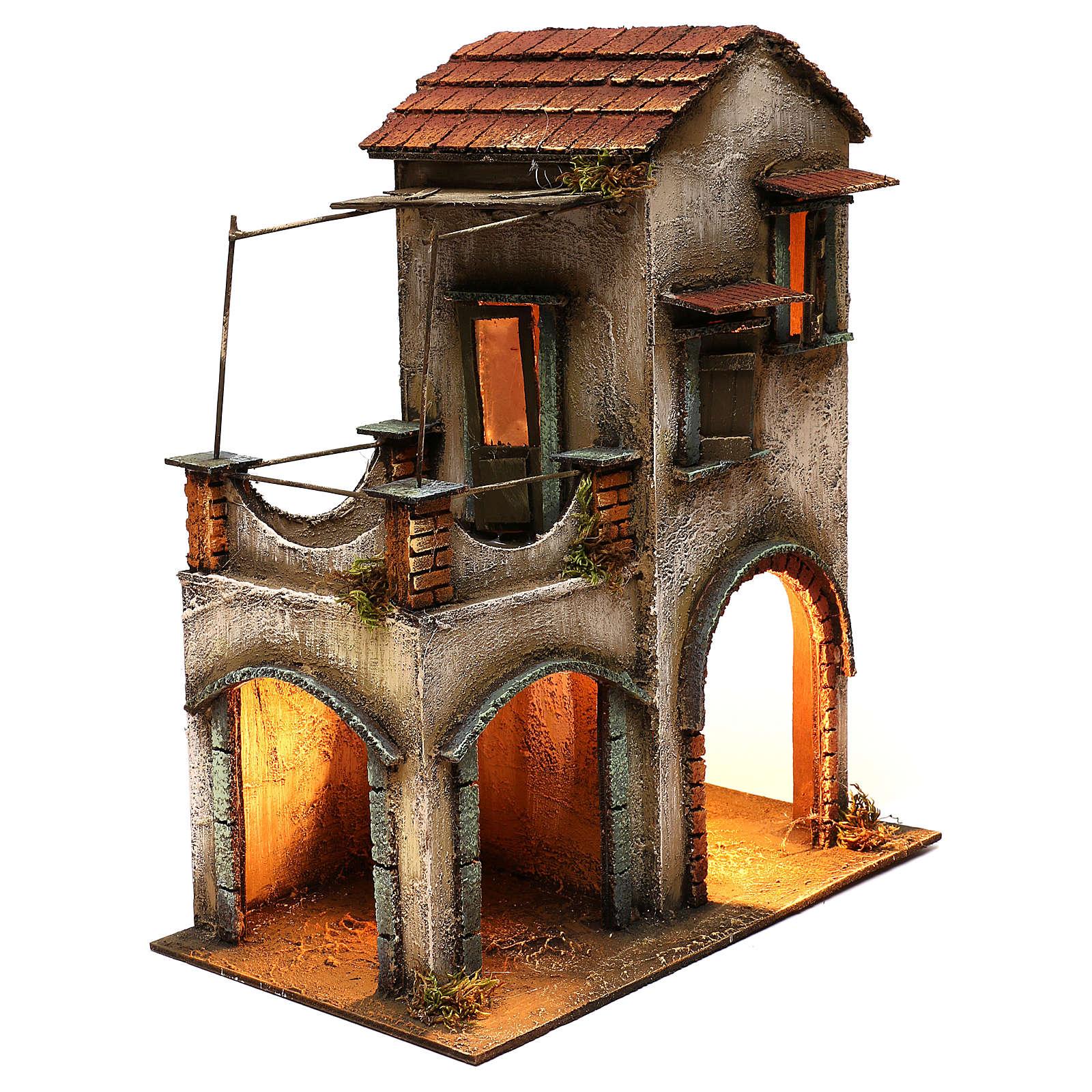 Habitation deux étages étable balcon porche crèche napolitaine 40x35x20 cm 4
