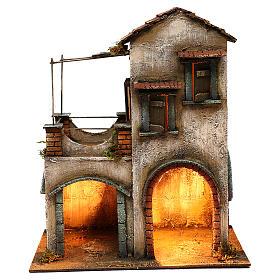 Habitation deux étages étable balcon porche crèche napolitaine 40x35x20 cm s1