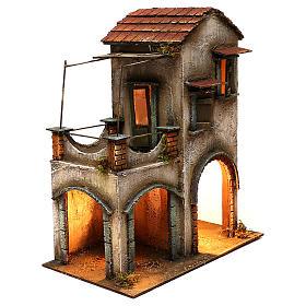 Habitation deux étages étable balcon porche crèche napolitaine 40x35x20 cm s3