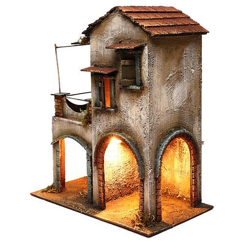 Habitation deux étages étable balcon porche crèche napolitaine 40x35x20 cm 2