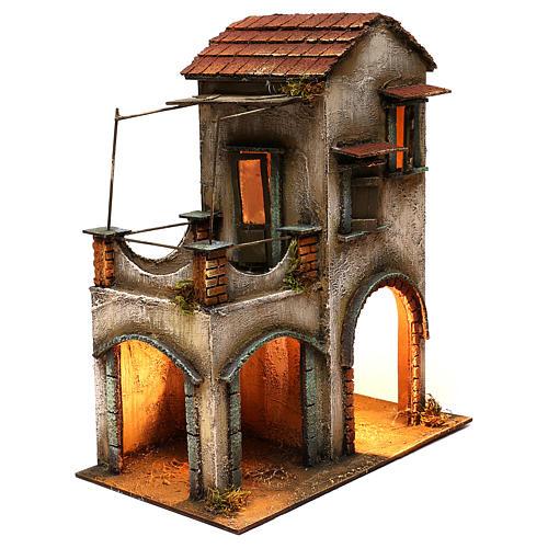 Habitation deux étages étable balcon porche crèche napolitaine 40x35x20 cm 3