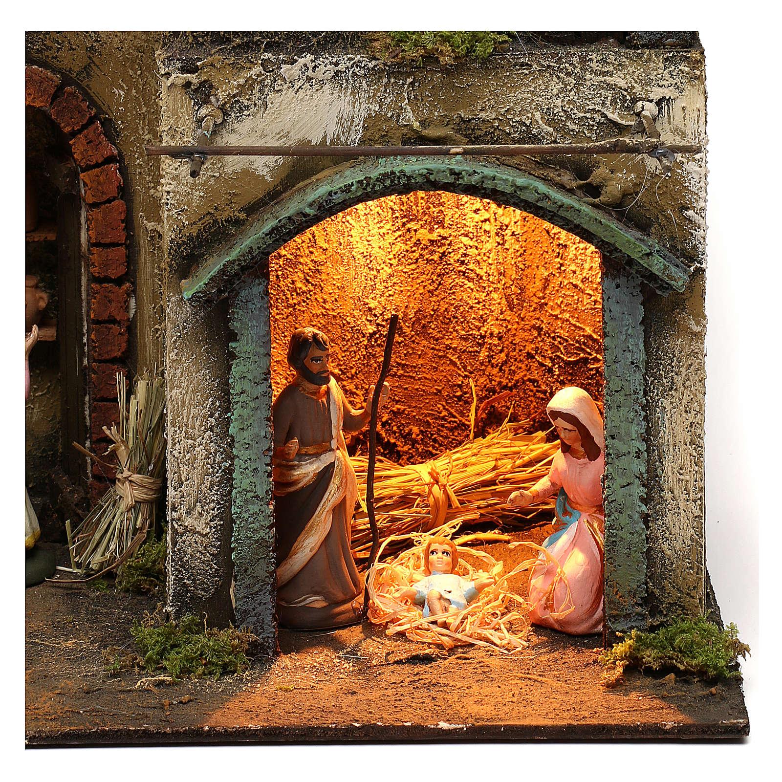 Capanna con borgo completa di statuine presepe napoletano 40x30x20 cm 4