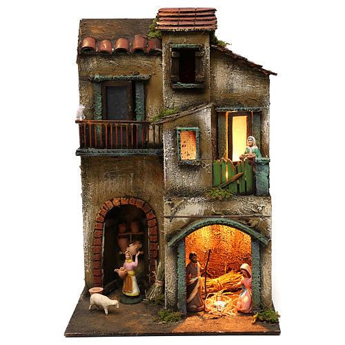 Capanna con borgo completa di statuine presepe napoletano 40x30x20 cm 1