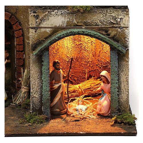 Capanna con borgo completa di statuine presepe napoletano 40x30x20 cm 2