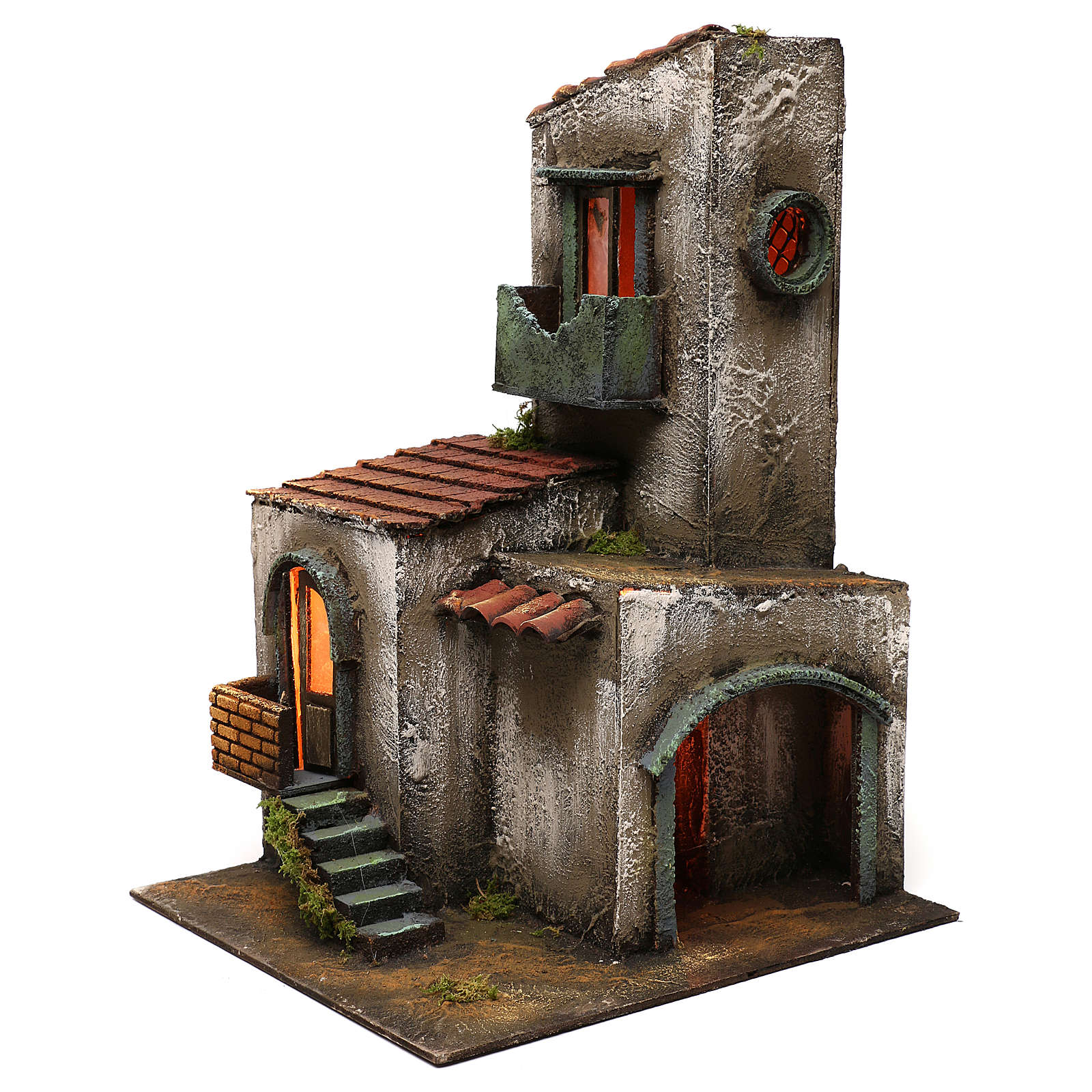 Nativity scene setting house with tower and stairs 45x30x30 cm 4