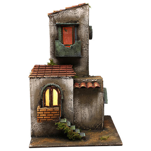 Nativity scene setting house with tower and stairs 45x30x30 cm 1
