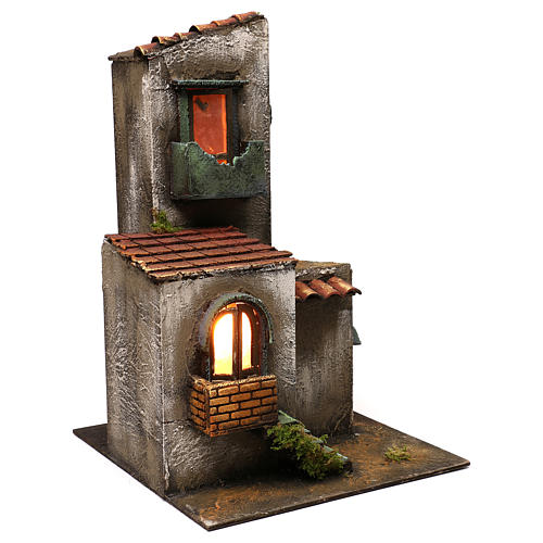 Nativity scene setting house with tower and stairs 45x30x30 cm 3