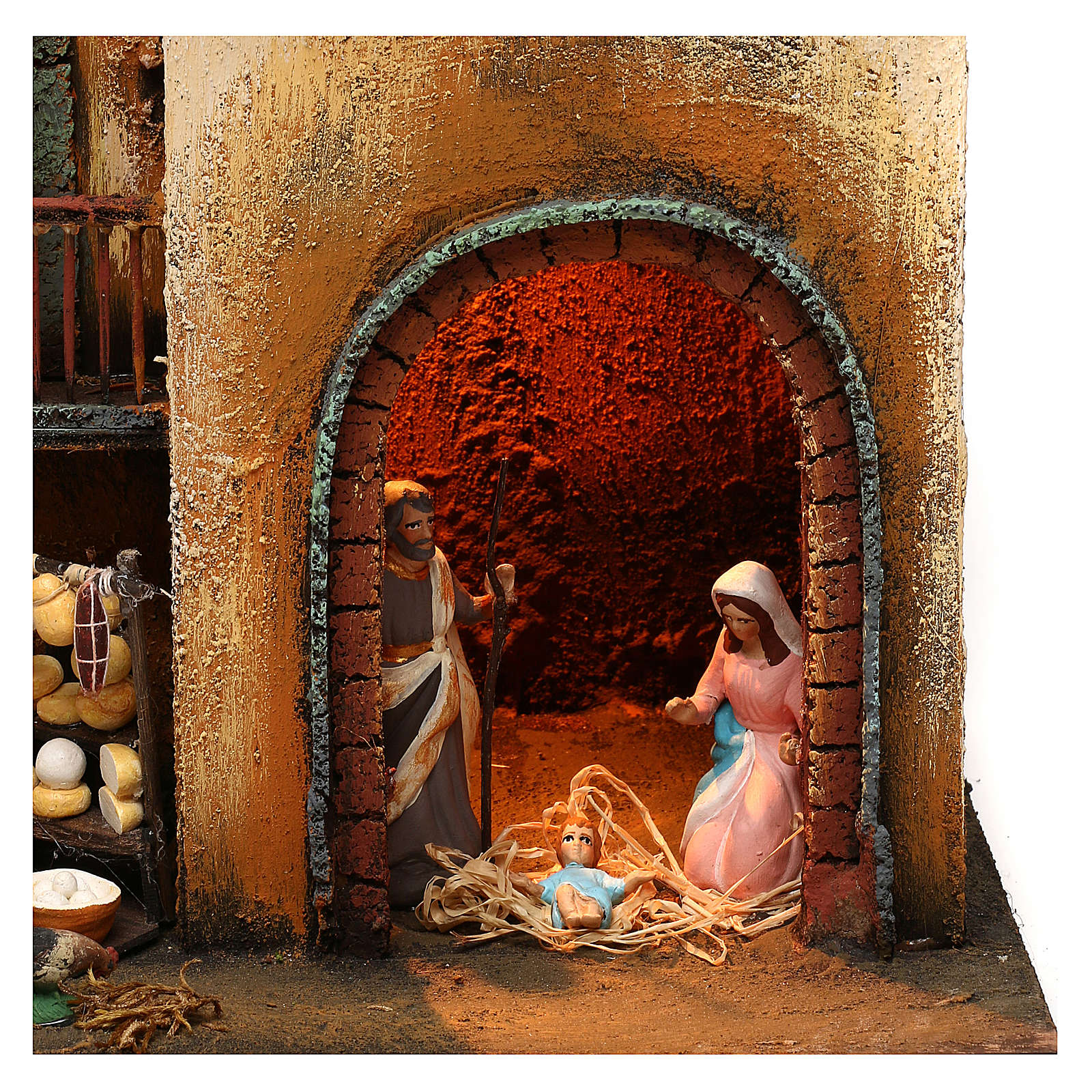 Neapolitan Nativity scene setting with statues and Holy Family 40x30x20 cm 4