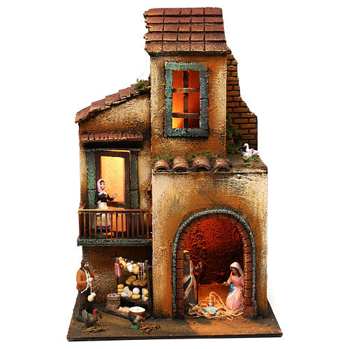 Neapolitan Nativity scene setting with statues and Holy Family 40x30x20 cm 1