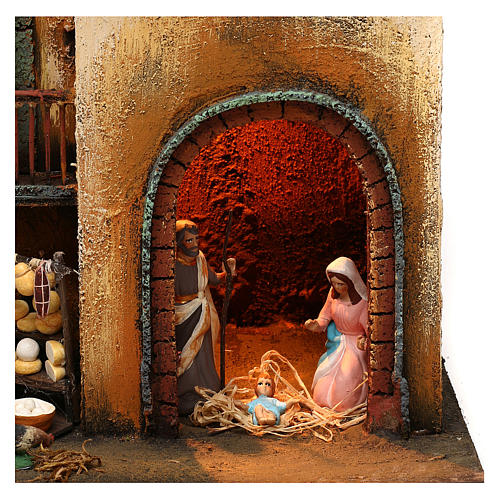 Neapolitan Nativity scene setting with statues and Holy Family 40x30x20 cm 2