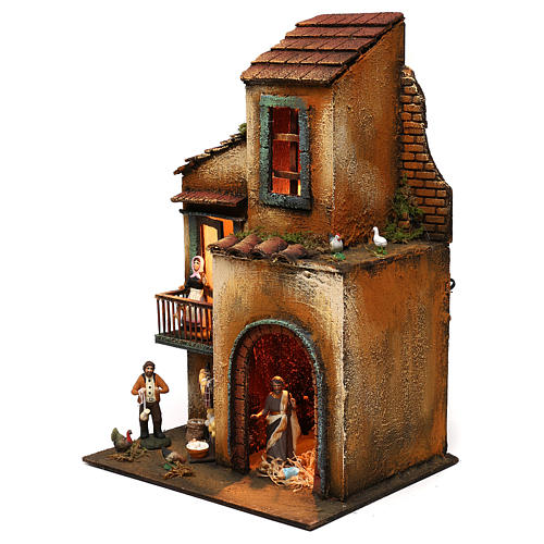 Neapolitan Nativity scene setting with statues and Holy Family 40x30x20 cm 3