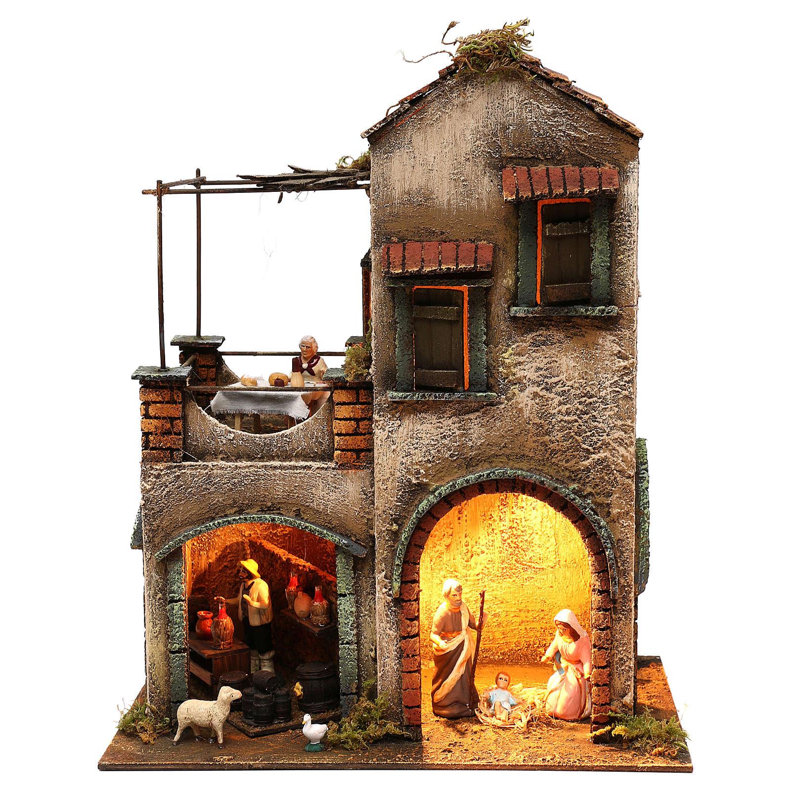 Neapolitan Nativity scene setting with Holy Family 40x35x20 cm 4