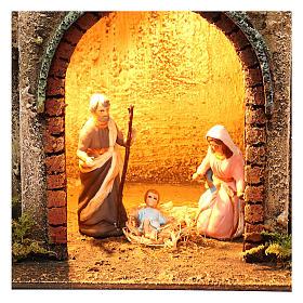 Neapolitan Nativity scene setting with Holy Family 40x35x20 cm s2