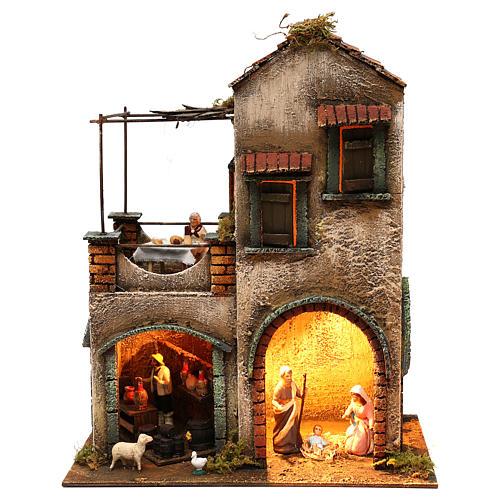 Neapolitan Nativity scene setting with Holy Family 40x35x20 cm 1