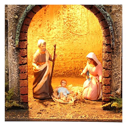 Neapolitan Nativity scene setting with Holy Family 40x35x20 cm 2