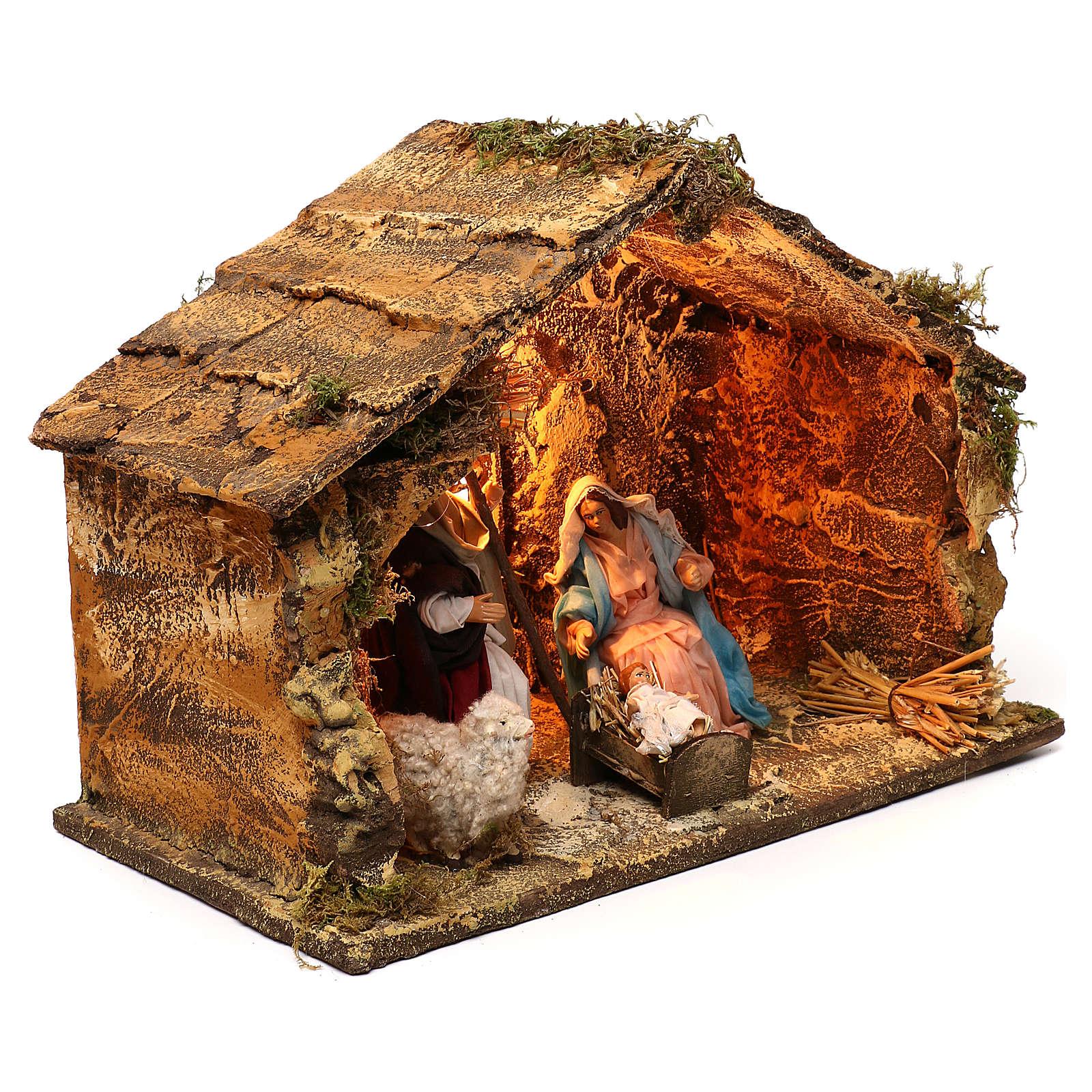 Neapolitan Nativity scene, Holy Family in stable 25x35x20 cm 4