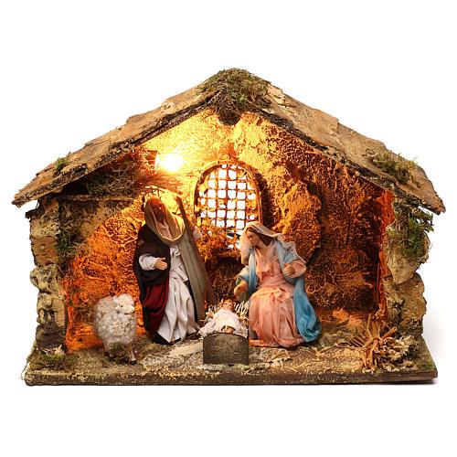 Neapolitan Nativity scene, Holy Family in stable 25x35x20 cm 1