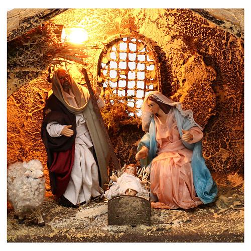 Neapolitan Nativity scene, Holy Family in stable 25x35x20 cm 2
