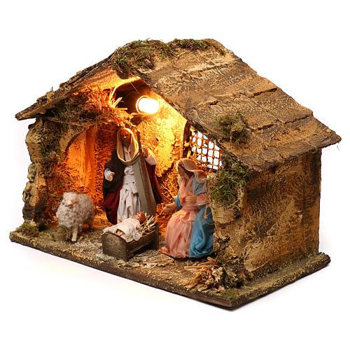Neapolitan Nativity scene, Holy Family in stable 25x35x20 cm 3