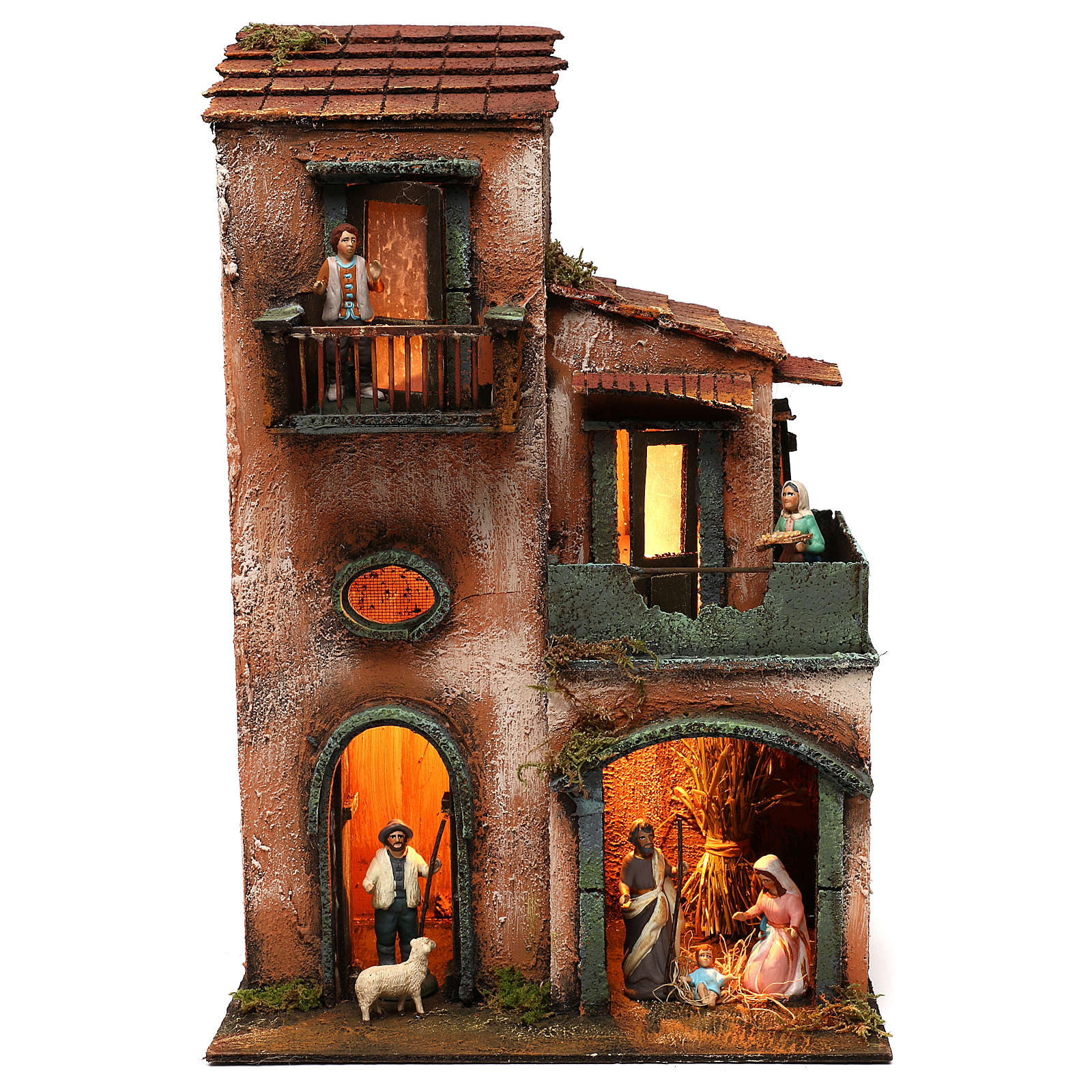 Nativity scene setting house with Holy Family, terracotta statues included 45x30x20 cm 4