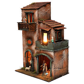 Nativity scene setting house with Holy Family, terracotta statues included 45x30x20 cm s3