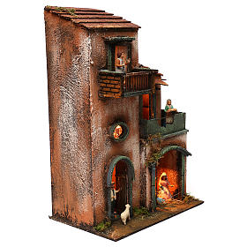 Nativity scene setting house with Holy Family, terracotta statues included 45x30x20 cm s4