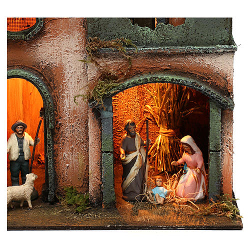 Nativity scene setting house with Holy Family, terracotta statues included 45x30x20 cm 2
