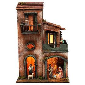 Caseggiato con capanna completo di statuine in terracotta 45x30x20 s1