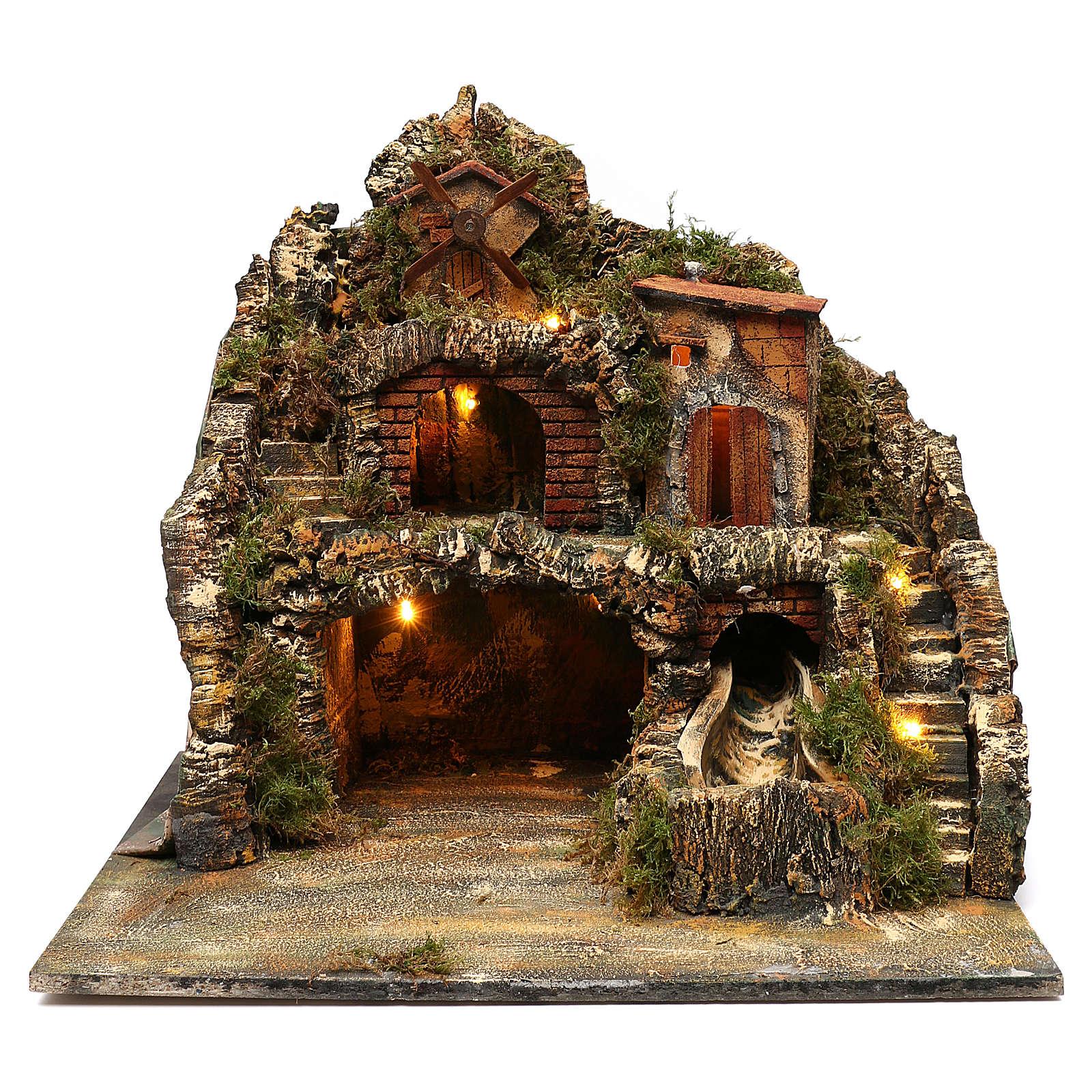 Borgo roccioso mulino e cascata 45x50x40 cm presepe napoletano 4