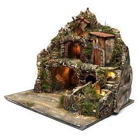 Borgo roccioso mulino e cascata 45x50x40 cm presepe napoletano s2